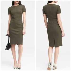 NWT Banana Republic Olive Button Sheath Dress